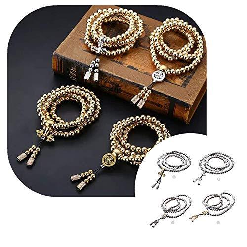 Outdoor Stainless Steel 108 Buddha Beads Necklace Hand Bracelet Chain Titanium Steel Metal Necklace Waist Chain (Gold - C)