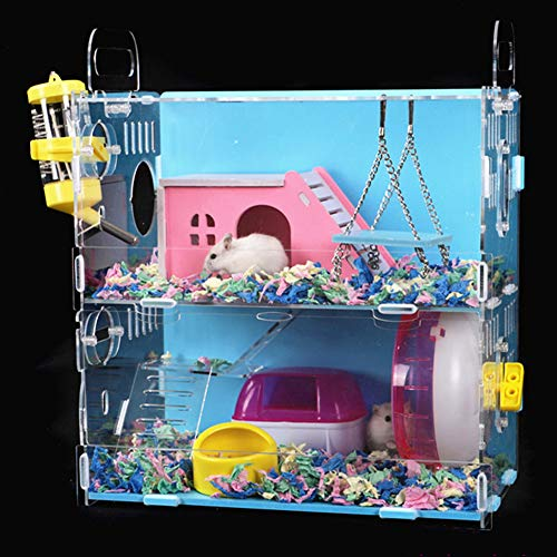 NXL Acrylic Hamster Cage Transparent Double Layer Villa...