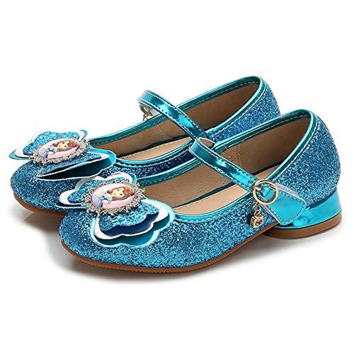 YOSICIL Niñas Disfraz de Princesa Sofía Zapatos de Bailarina con Velcro Zapatos de Tacón Mini de Cumpleaños Antideslizante Zapatos de Lentejuelas de Vestir Fiesta Infantil 4-15 Años EU26-35
