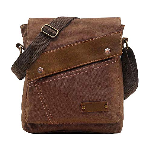 VRIKOO Unisex Small Vintage Canvas Leather Shoulder Bag Messenger Travel Bag Satchel Crossbody Bags (Coffee)