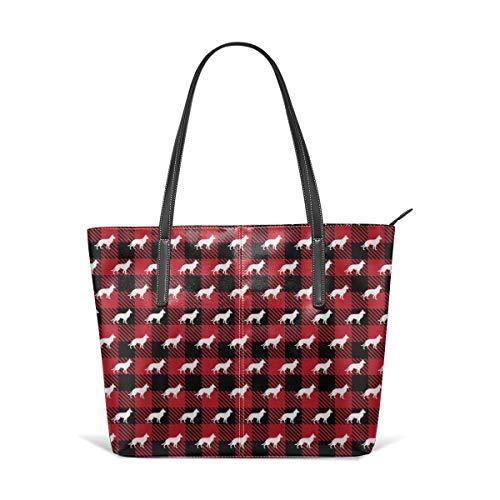 Meiya-Design Red Buffalo Plaid German Shepherd Schultertasche PU Leder Leichte Arbeitstasche für Frauen
