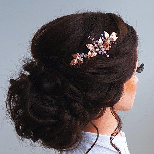 Kercisbeauty Bruiloftskam met kristallen en parels, bruid, bruidsmeisjes, bloemenmeisjes, haaraccessoires, hoofdtooi en accessoire voor lange en gekrulde haren en opgestoken kapsels, haaraccessoires