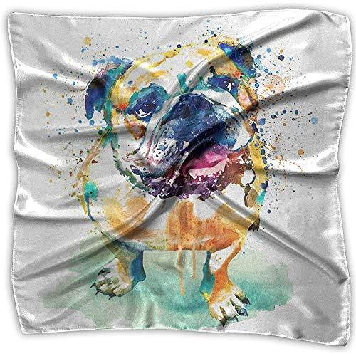 chipo Taschentuch Englische Bulldogge In Aquarell Seide Bandanas Frauen Taschentuch Polyester Einstecktuch Mulipurpose Delicate 100X100Cm Printing Outdoor Schön Bequem Weich
