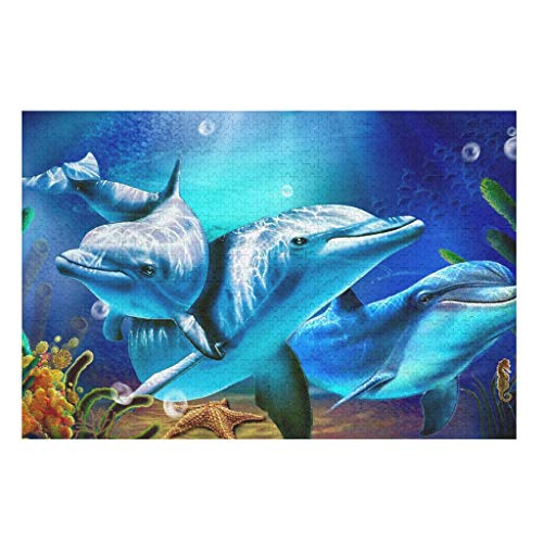 dolphin 3D printing Puzzle 200/300/500/1000 Pieces Jigsaw Puzzle Educational Gift for Adults Kids Teens Family white 500pieces