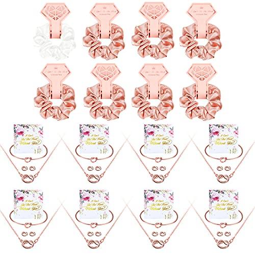 8 Accesorios de Regalo de Dama de Honor Scrunchies de Satén Decoración de Despedida de Soltera con 8 Tarjetas de I Can't Tie The Knot Without You y 8 Sets Pendientes Collar Pulseras