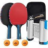 MOSRACY Conjunto de Tenis de Mesa con Red, Raqueta de Ping Pong Profesional,2 Raqueta/3 Pelotas/1Red Retráctil/1Portátil Bolsa de Red (Niños/Adultos) para Competiciones de Ping Pong Pro o de Ocio.