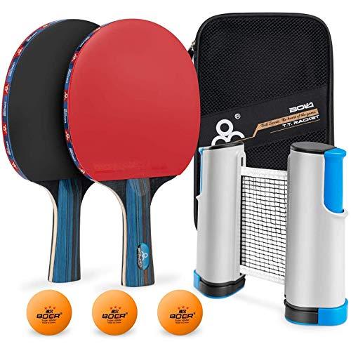 Set da ping pong con rete,MOSRACY kit di racchetta da ping pong,2racchette+3palline+1rete retrattile+1sacca per rete portatile(bambini/adulti),per gare di ping pong professionale o per il tempo libero
