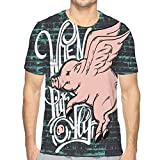 hyjhytj Men's Classic Fit O-Neck T-Shirt Pigs Fly Quote typographical Background Hand Drawn Flying Pig Template Card Poster Banner Print