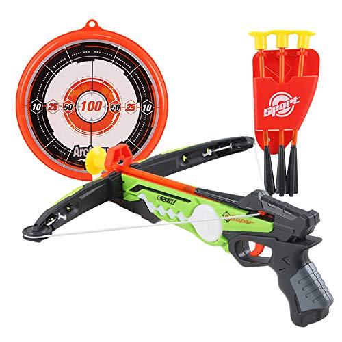deAO Spielzeug Armbrust Set mit Saugnapfpfeilen und Zielbrett - Tolle Zielspiele für Kinder im Innen- und Außenbereich (grün)
