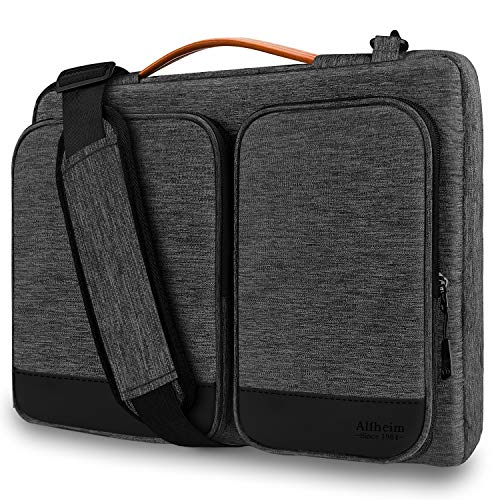 Alfheim 15.6-16 inch Laptop Sleeve Briefcase, Waterproof Shock-Resistant Lightweight Shoulder Bag, 360° Protective Notebook Case Compatible with 16 inch Macbook Pro A1398/Surface/Dell (LightGrey)