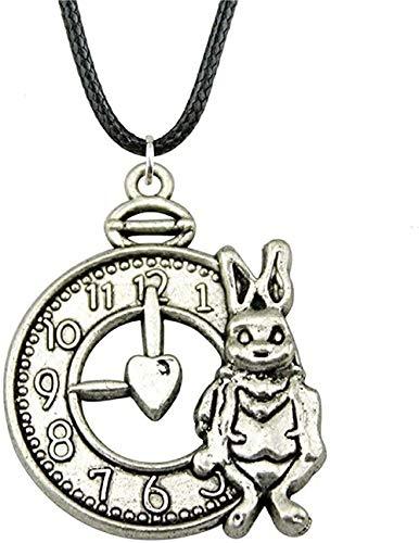 YOUZYHG co.,ltd Collar 31x25mm Collar con Colgante de Conejo y Reloj de Color Plateado y Bronce Antiguo Antiguo