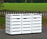 binnen-markt 3er Mülltonnenbox/Mülltonnenverkleidung 120 L Holz, Weiß