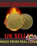 MAGIC 50 CENT EURO SPLIT COIN / EURO 50c SPLIT COIN MAGIC TRICK / COIN THRU BAG