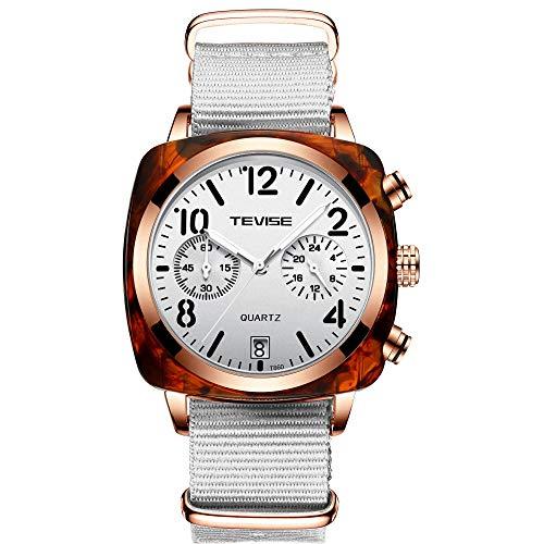 Horloges Luxe Merk Automatische Mechanische Horloge Roestvrij Mesh Riem Kalender Business Tourbillon Lichtgevende Waterdichte Horloge, Nylon Wit