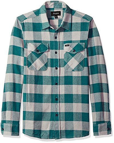 BRIXTON Herren Hayes Relaxed Fit Long Sleeve Flannel Shirt Button Down Hemd, Beton, X-Klein