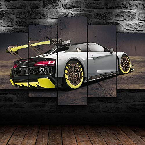 AWER Mural Moderno 5 Piezas Audi R8 GT2 Racing Modifed Car Frame Pinturas Arte de Pared Impreso en HD Dormitorios Decoración para El Hogar -No Tejido Lienzo Impresión