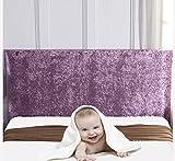 MLHK Cabeceros De Cama De Lujo Nórdico Funda De Terciopelo Elástico, Funda para La Cabeza De Cama, Respaldo Todo Incluido De Funda Protectora a Prueba De Polvo para Camas Dobles,Purple1-Length:200cm