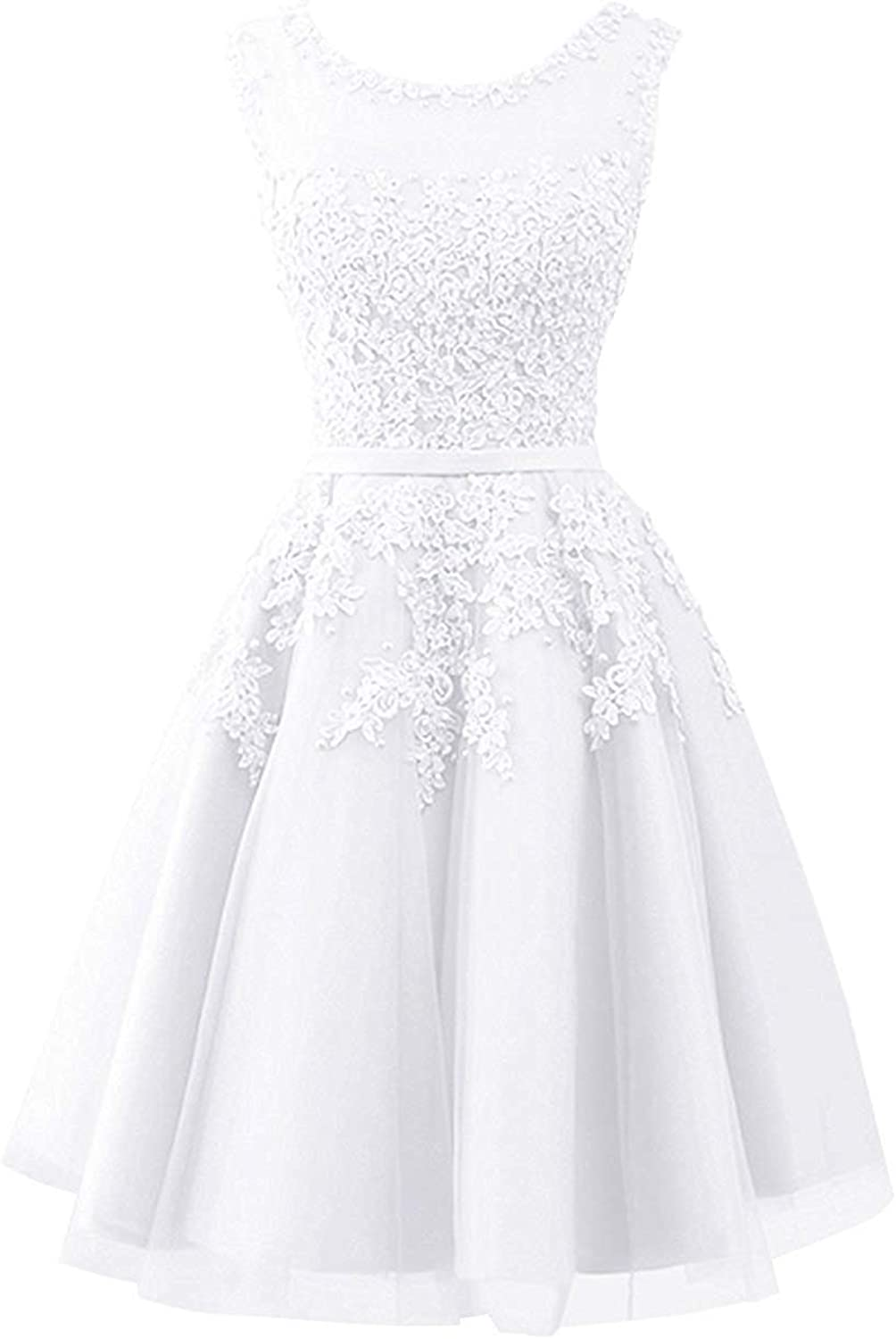 Jingliz Short Tulle Junior Homecoming Dresses Lace Appliques Prom Evening Formal Gowns