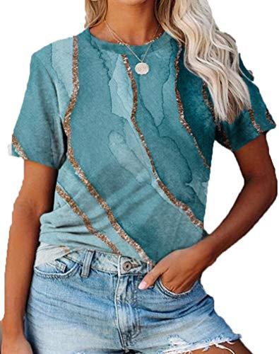 SLYZ 2021 Camiseta De Manga Corta con Cuello Redondo De Talla Grande para Damas Europeas Y Americanas Camiseta con Blusa De Todo Fsforo