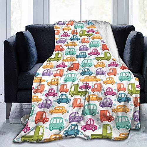 KOSALAER Bedding Manta,Cars Vibrant Doodle Style Rides Imprimir,Mantas cálidas de Sala de Estar/Dormitorio Ultra Suaves para Todas Las Estaciones