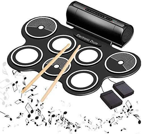 BD.Y Kits de batería eléctrica niños Tambor electrónico Enrollable Instrumentos Musicales de...