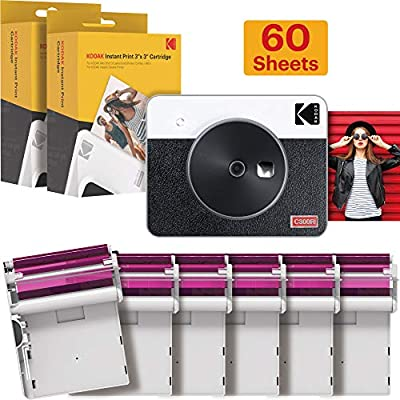 Kodak Mini Shot 3 Retro Camera - Instant Camera and Photo Printer – 2-in-1 Printer Compatible with iOS & Android – Bluetooth – 3x3-inch Real Photo Printer - 4PASS Tech - White - 60 Sheet Bundle