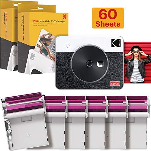 Kodak Mini Shot 3 Retro Camera - Instant Camera and Photo Printer – 2-in-1 Printer Compatible with iOS & Android – Bluetooth – 3x3-inch Real Photo Printer - 4PASS Tech - White - 60 Sheet Bundle