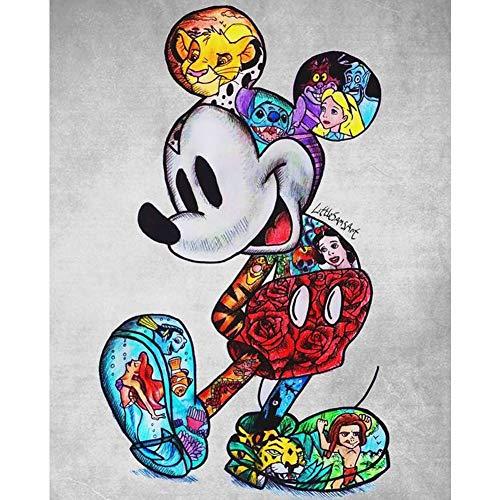 DIY 5D Diamante Pintura Kits, Kit de Pintura de Diamantes 5D Mickey Mouse y la princesa Diamond Painting Completo Bordado Punto de Cruz Craft para Home Decoración -Round Drill,80x100cm E3264