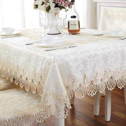 feiren Luxuriöse Stickerei, schöne Spitzentischdecke für Abendessen, runde Tischdecke mit ausgestanztem Rand (Farbe: HM 141, Spezifikation: 140 x 200 cm, oval)
