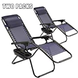 Vnewone Patio Chairs Set of 2 Zero Gravity Chair Folding Chairs Outdoor Chairs Anti Gravity Chair Reclining Outdoor Folding Chairs Lounge Chair Deck Chairs Foldable Yard with Pillow Cup Holder (Blue)