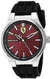 Ferrari Men's Stainless Steel Quartz Watch with Silicone Strap, Black, 0.63 (Model: 830353)