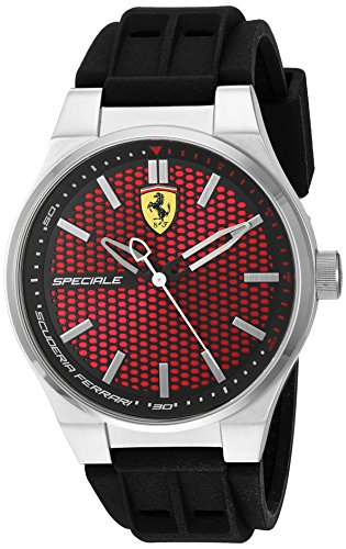 Ferrari Men's Stainless Steel Quartz Watch with Silicone Strap, Black, 0.63 (Model: 830353)