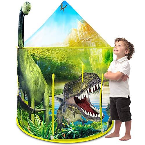 Nice2you Kinderzelt, Spielzelt Junge, Zelt Kinderzimmer für Drinnen und Outdoor, Realistisches Dinosaurier-Design Faltbares Spielhaus mit Tragetasche, Geschenk für Kinder