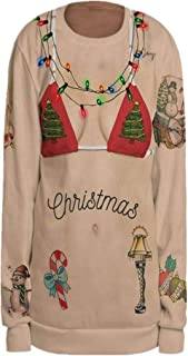 iLUGU Women Sexy Blouse Christmas Wrong visual Body 3D Print O-Neck Long Sleeve Tops Sweatshirt Pullover
