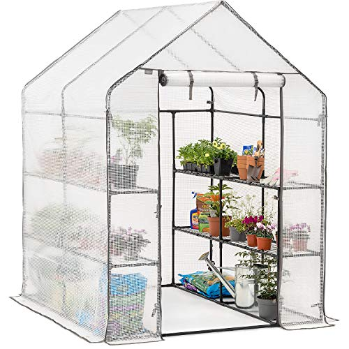 CHRISTOW Walk In Greenhouse With Shelves, Reinforced Green House With Tubular Steel Frame, 8 Shelf Heavy Duty Growhouse, 6ft 4in x 4ft 7in x 4ft 7in