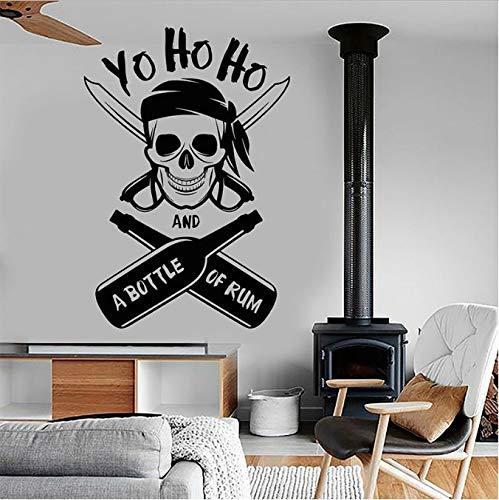 Yo Ho Ho Een Fles van Rum Piraat Schedel Muurstickers Vinyl Nautical Home Decor Interieur Jongens Kamer Kids Slaapkamer Decals Mural 42X61Cm