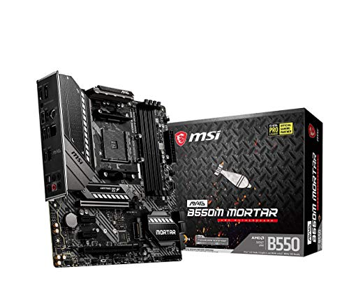 MSI MAG B550M MORTAR (AMD AM4 DDR4 M.2 USB 3.2 Gen 2 HDMI M-ATX Gaming Motherboard AMD Ryzen 5000 Prozessoren)