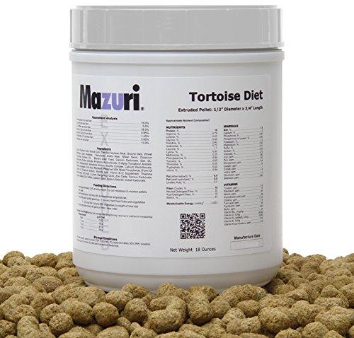 Mazuri Tortoise Diet/Feed/Food, 18oz.(0.5kg), pellet extruido 1/2 'x 3/4' de longitud, dieta de alta fibra diseñada para tortugas herbívoras y otros reptiles herbívoros.