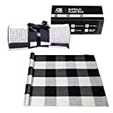 Buffalo Plaid Rug by Classic Strive - Outdoor and Indoor Black and White Checkered Mat Braided Washable Woven Modern Fabric for Front Door Farmhouse Entryway Kitchen Bathroom Porch