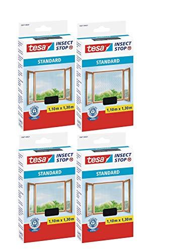 tesa® Insect Stop STANDARD Fliegengitter für Fenster - Insektenschutz zuschneidbar - Mückenschutz ohne Bohren - Fliegen Netz anthrazit, 110 cm x 130 cm (4)