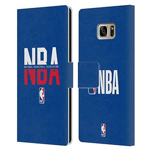 Head Case Designs Ufficiale NBA Tipografia 2019/20 Logoman Cover in Pelle a Portafoglio Compatibile con Samsung Galaxy S7 Edge