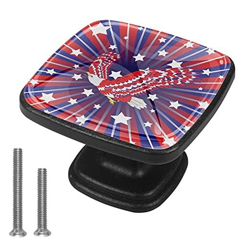 Juego de 4 perillas para gabinetes de cocina - Tiradores para cajón y tocador - Águila estilizada roja azul y blanca.