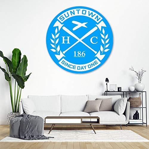 DKISEE Suntown - Adhesivo decorativo para pared, color blanco sobre azul