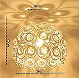 Plafoniera in Cristallo Moderno Lampadario in Cristallo Luce Lüster Lampadario 60W E27 per corridoio portico camera da letto (26cm-White)
