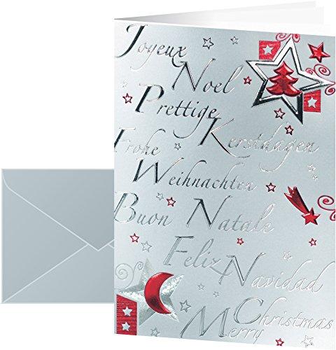SIGEL DS362 10 Cartes de noël ou cartes de vœux fournies avec leur enveloppe, motif décorations de noël, 10,5 x 21 cm, rouge et argent