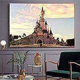 Disneyland Paris Park Castle Painting Carteles e impresiones de habitaciones para niños Imágenes artísticas de pared para la decoración de la sala de estar Obra nórdica-70x110cm Sin marco