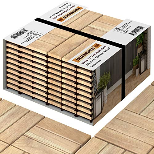 Interbuild Teak Hardwood Interlocking Patio Deck Tiles, 12' × 12' (Pack of 10), Easy to Install Floor Tile for Both Indoor & Outdoor Use, 12 Individual Wood slats on Each Tile