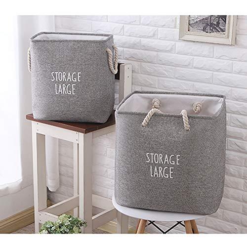 TVMALL Cesta de almacenamiento grande plegable algodón y lino material cuadrado bolsa...