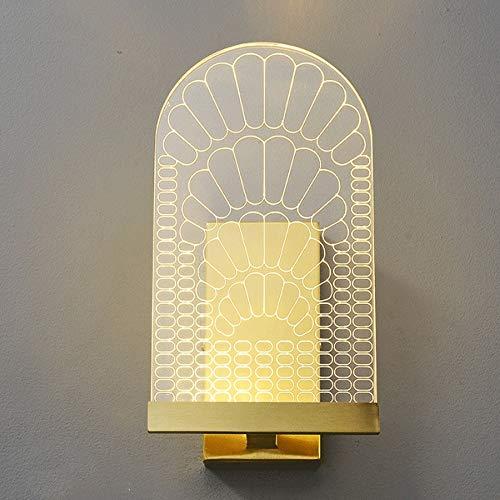 6W LED lámpara de pared Acabado de latón Decoración del hogar Iluminación de la pared, luz interior de la pared ajustable tricolor para sala de estar, cabecera, estudio, dormitorio, escalera [Clase de