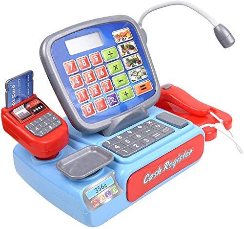 COSMOLINO Spielkasse Kinder mit Scanner Mikrofon Kasse Kaufladen Elektronische Supermarktkasse Spielzeug Rollenspiel Geschenk Kaufmannsladen Kasse Toy